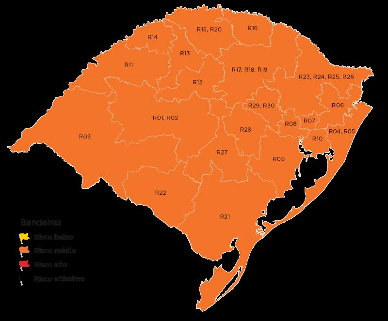Todas as 21 regiões foram classificadas em risco médio para o contágio do novo coronavírus