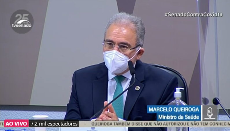 Marcelo Queiroga, durante depoimento na CPI